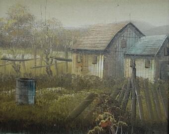 Signed Appel Oil on Canvas House Cottage Landscape River Lake Pond Scene Oil Painting  Artist Signed Wood Frame Framed