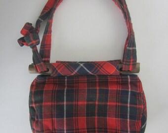Vintage Red Wool Tartan Plaid Handbag Wooden Handles Lined Retro Style Bag Navy Piping Cloth Preppy Checks