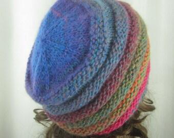 Hand Knit Prism Tones Beanie - Soft Hat - Womens Warm Winter Hat in Pinks Green Plum Blue - Womens Accessories - Womens Fashion