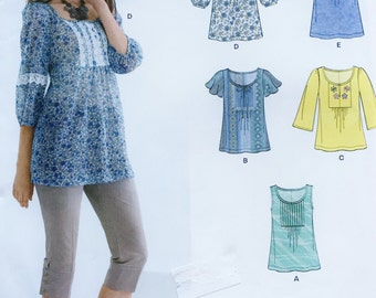 uncut printed sewing pattern//bohemian style top with gathered front and flowing sleeves//misses sizes 10-22