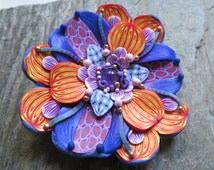 Violet Flame Flower - Brooch with natural Amethyst