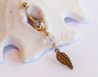 Gold Belly Button Ring - Gold Leaf with AB Finish Crystal Belly Button Jewelry - Belly Button Jewelry Made to Order