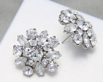 Bridal Earrings, Star Flower Earrings, Rhinestone Earrings, Wedding Bridesmaids Earrings, Stud Earrings, Christmas Gift, Birthday Gift