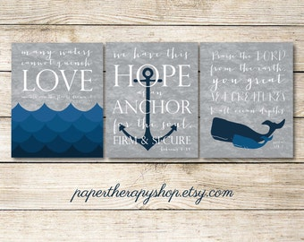 3 Nautical Prints based on Bible verses, Water, WHALE, and ANCHOR 8x10 or 11x14