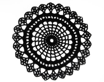"Black Lace Doily ""Lacy Web"" - Handmade Crochet, 6"", Egyptian Cotton - Gothic Halloween Monochrome Geometric Decor"