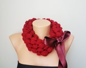 Burgundy Bubble Loop Scarf Necklace, - Infinity Scarf ,Noodle Scarves Fashion Neckwarmer Circle Necklace Chunky Cowl