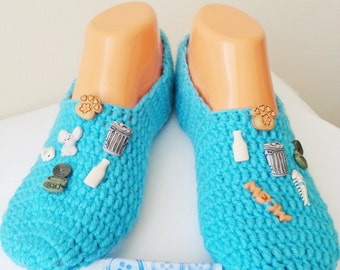 Turquoise Cat Stuff Specially Designed Home Slippers, Dance classic yoga, house slippers, crochet shoes, balletflats pilates yogasocks
