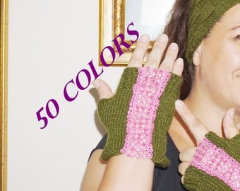 Headband Fingerless set with pink lace Ear Warmer and Gloves Set, Knit Fashion Accessory for Teen Girls