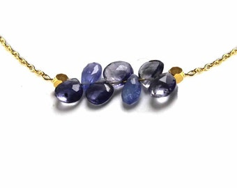 Tanzanite and Iolite Necklace. Horizontal Bar Necklace. Gemstone Teardrop Necklace. Gold Fill or Sterling Silver. NS-1919