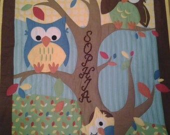 Hand Quilted Personalized Owl Baby Quilt