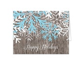 Holiday Cards - Rustic Winter Wood Snowflake Printed Christmas Cards - Country Happy Holidays Christmas Cards