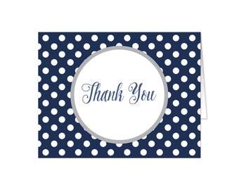 Navy Thank You Cards - Gray Navy Blue Polka Dot - Winter Navy Blue Polka Dot Thank You Cards - Printed
