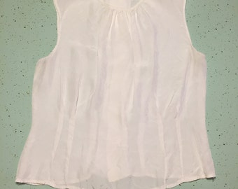 1950's Silk Blouse White 50's Pin Up Mid Centruy Blouse