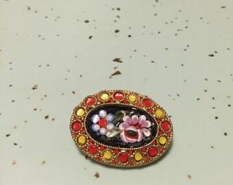 Vintage Mosaic Brooch Glass Italian Brooch Gold Setting Floral Mosaic