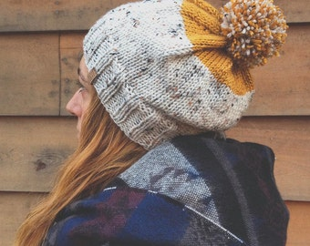 Kamloops Hat - Slouchy style knit color-block hat in cream tweed and mustard yellow with pompom