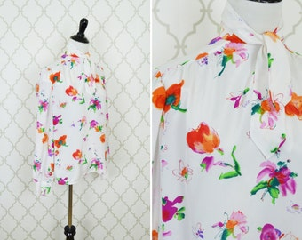 Vintage 1980's White Floral Secretary Blouse - Long Sleeve Neck Tie top - Breezy Summer blouse - ladies size medium