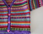 Purple boho cardigan - size 6-12 months - handknitted