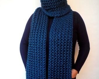 Blue-Green  Ivy Scarf Soft mixed  Wool Big  Neckwarmer Women/Men Fashion  Chunky  Knit  Scarf NEW