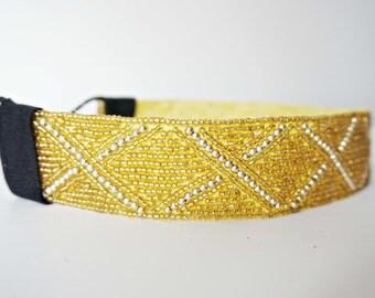 Thick Gold Beaded Decorative Headband