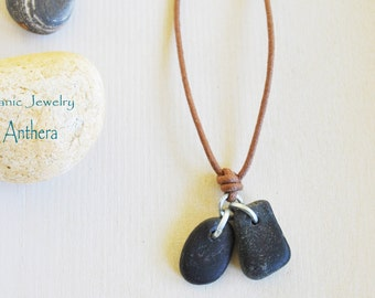 Organic jewelry - river stone - men and women necklace - natural jewelry - zen - urban