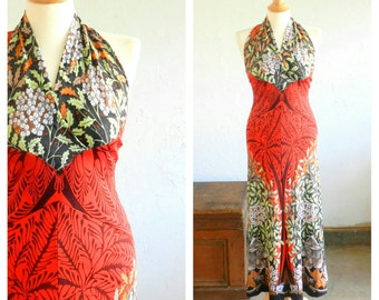 70's MAC TAC Dress - Paris /Disco / Rare / Iconic / Halter Maxi / Fall / Holiday / Size Small