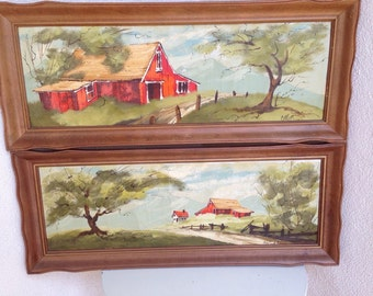"Vintage unique acrylic paintings Barnyard scene by Lola Cabot set of 2 wood framed 27""x11"""