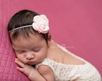 Rose Headband, Baby Headband, Pink Headband - Pink Rose Flower on Grey Skinny Elastic Infant Headband Baby Accessories