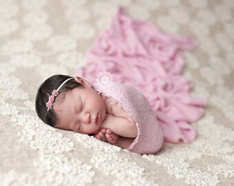 Floral headband, Pink Headband, Rose Headband- Pink Rose Baby Headband