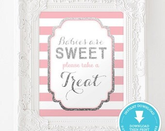 Pink and Silver Baby Shower Decor - Sweet Treat table sign - Silver Glitter Baby Shower - Baby Shower Girl - party sign - Instant Download
