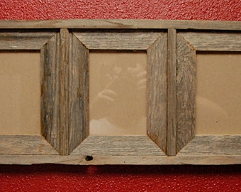 Triple 5x7 barn wood frame