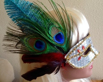 Mardi Gras Masquerade Ball Venetian Mask Woodland Fairy Nymph Costume Adorned with Fern Gem Glitz