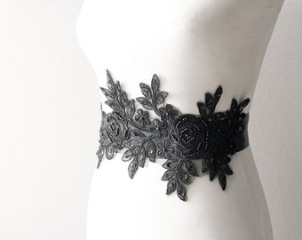 Bridal Black Lace Sash Belt - Wedding Dress Sash Belts - Beaded Rose Flower Lace Flowers