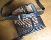 Small Woven Grass Crossbody Purse, Brown and tan, Plaid, Fully Lined, Straw, Leather,