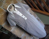 Wednesday Dress, NWT, NOS, 8/10,Vintage 1960s, White collar, Striped Dress, Wednesday Addams, Polyester, Brown and White,