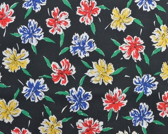 Vintage Cotton Fabric, Cotton Floral Fabric, Black Fabric, Black Floral, Vintage Floral, Vintage Fabric - 1 1/8 Yard - CFL1633