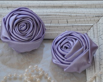 """2"""" Satin Fabric Roses, Lavender Satin Rolled Rosettes, Satin Roses, Rolled Roses, Fabric Flowers, Satin Flowers, Satin Rosettes, 30 Colors"""