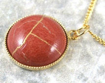 Kintsugi (kintsukuroi) red jasper stone bracelet with gold repair in a gold plated setting on gold plated chain - OOAK