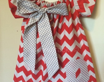 Red and Grey  Peasant Dress with Bow
