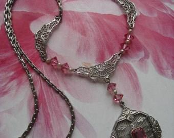 Vintage 20s Deco Filigree Necklace, Pink Crystal Filigree Necklace, Estate Jewelry, Bridal Jewelry, Romantic Vintage, Feminine Necklace