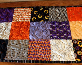 Halloween Patchwork Tablecloth, Quilted SpiderwebTable Runner, Fall Autumn Harvest Quilt, Quiltsy Handmade