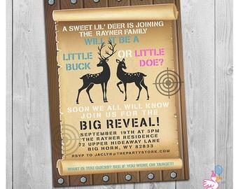 Buck or Doe Gender Reveal Invitation, Deer Gender Reveal Invitation Download, Doe or Buck Baby Reveal Invitations Printable