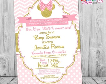 Minnie Mouse Baby Shower Invitations | Pink and Gold Minnie Mouse Baby Shower Invitations