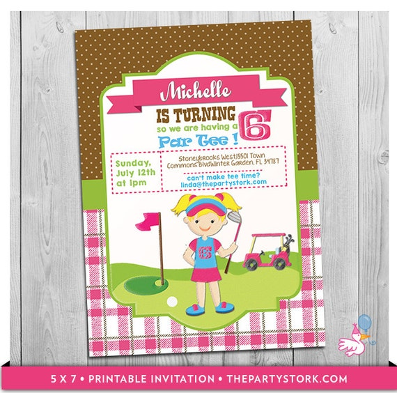 Golf Invitation Printable Personalized Girls Golf Birthday Party – Golf Party Invites