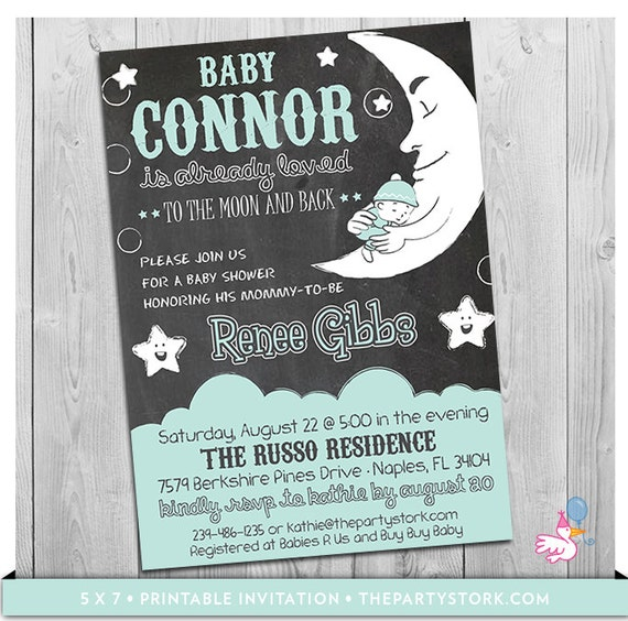 baby shower love you to the moon and back blue boy card,