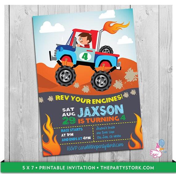Monster Truck Invitation Printable Personalized Boys Monster Jam – Truck Birthday Party Invitations