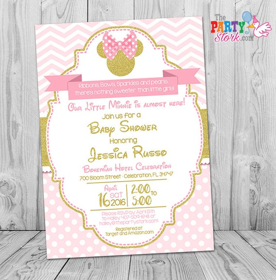 Minnie mouse baby shower invitations pink and gold minnie mouse il570xn filmwisefo