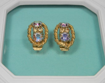 60s Clip On Earrings Gold Tone Aurora Borealis