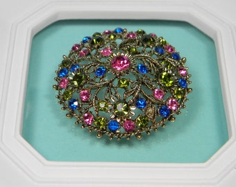 Blue and Green Floral Rhinestone Brooch or Pin, Vibrant Pink, Gold Tone