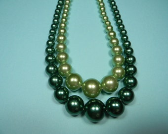 Gorgeous Greens Two Strand Necklace, Bold Vintage Statement, Traditional Christmas