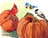 ACEO Limited Edition 1/25- Season of harvest, Cardinal, Chickadee, Blue tit, Small gift for bird lovers, Thanksgiving day gift idea